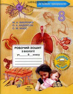 Біологія Робочий зошит 8 клас Вихренко. Нова програма